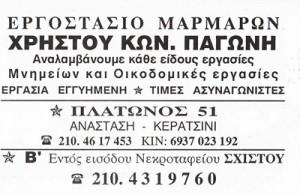 ΕΡΓΟΣΤΑΣΙΟ ΜΑΡΜΑΡΩΝ ΚΕΡΑΤΣΙΝΙ - ΜΑΡΜΑΡΟΓΛΥΦΕΙΟ ΚΕΡΑΤΣΙΝΙ - ΧΡΗΣΤΟΣ ΠΑΓΩΝΗΣ