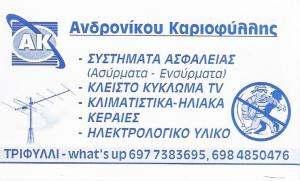 ΣΥΣΤΗΜΑΤΑ ΑΣΦΑΛΕΙΑΣ ΤΡΙΦΥΛΛΙ ΓΙΑΝΝΙΤΣΑΣ -  ΗΛΕΚΤΡΟΛΟΓΙΚΟ  ΥΛΙΚΟ - ΑΝΔΡΟΝΙΚΟΥ ΚΑΡΙΟΦΥΛΛΗΣ