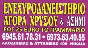 ΕΝΕΧΥΡΟΔΑΝΕΙΣΤΗΡΙΟ ΝΙΚΑΙΑ - Ε. ΑΙΝΙΤΗΣ